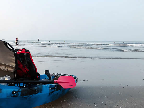 カヤック離岸時の波